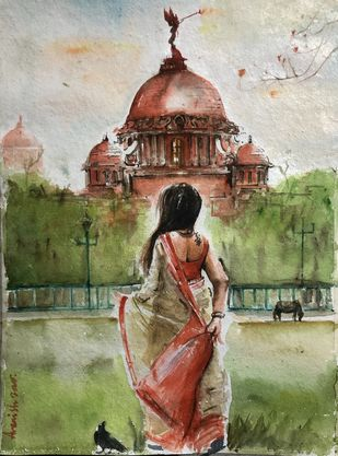 Victoria Memorial: Calcutta Nostalgia by Avanish Trivedi, Impressionism Painting, Watercolor on Paper, Hillary color