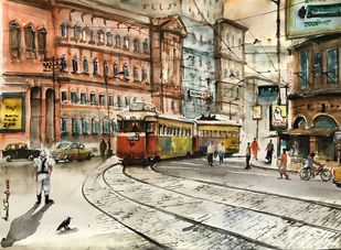 Calcutta Nostalgia: Dalhousie BBD BAG by Avanish Trivedi, Impressionism Painting, Watercolor on Paper, Rodeo Dust color