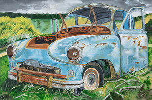 Vintage Wrecked Car by Tejal Bhagat, Expressionism Painting, Acrylic on Canvas, Mummys Tomb color