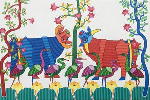 Untitled by Thota Laxminarayana, Traditional Painting, Acrylic on Canvas, Casal color