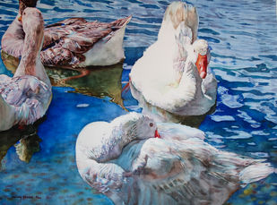 Ducks by Uday Bhan, Realism Painting, Watercolor on Paper, Slate Gray color