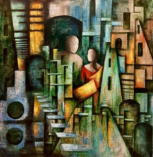 Symbiotic by Neeti Aggarwal, Geometrical Painting, Mixed Media on Canvas, Tan color