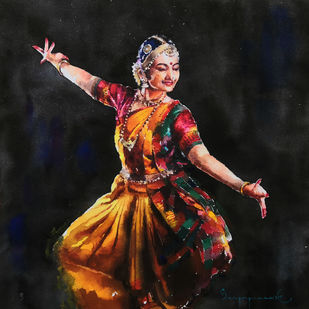 Classical Dancer 04 by Jeyaprakash M, Realism Painting, Watercolor on Paper, Antique Brass color