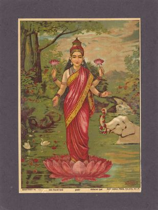 Lakshimi(1/1) by Raja Ravi Varma, Traditional Printmaking, Lithography on Paper, Tobacco Brown color