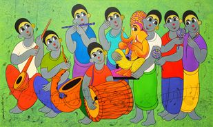 ganpati's arrival by Dnyaneshwar Bembade, Expressionism Painting, Acrylic on Canvas, Olivine color
