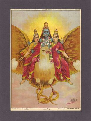 Garudvahan vishnu(1/1) by Raja Ravi Varma, Traditional Printmaking, Lithography on Paper, Ferra color