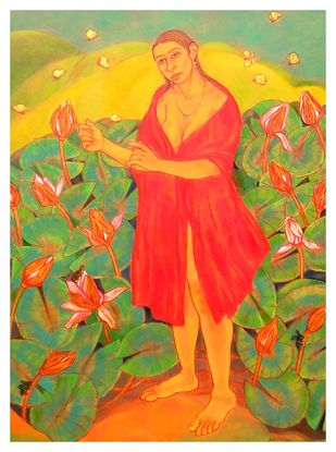 Aprajita by Anita Tanwar, Expressionism Painting, Oil on Canvas, Copper color