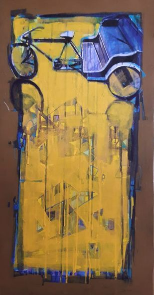 cycle rickshaw..1 by Ganesh Jadhav , Expressionism Painting, Acrylic on Canvas, Cape Palliser color