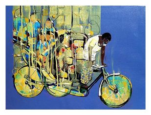 cycle rickshaw... by Ganesh Jadhav , Expressionism Painting, Acrylic on Canvas, Winter Hazel color