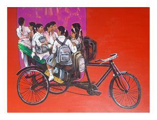 vetting by Ganesh Jadhav , Expressionism Painting, Acrylic on Canvas, Tundora color