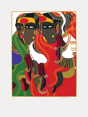 Untitled by Thota Vaikuntam, Expressionism Serigraph, Serigraph on Paper, Kelp color