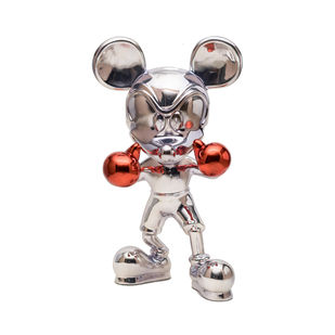 Knockout Mickey Chrome Edition by Sanuj Birla, Art Deco Sculpture | 3D, Fiber Glass, Silver color