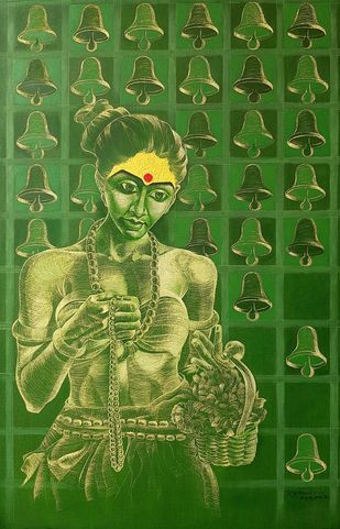 At the Temple by Ramana Peram , Expressionism Painting, Oil on Canvas, Fern Frond color