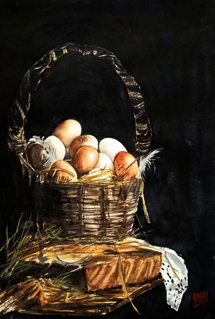 Eggs In Old Basket Digital Print by Sabari Girish T,Realism