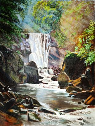 Waterfall by Dipali Samant , Impressionism Painting, Oil on Canvas Board, Taupe color