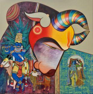 Kamdhenu by Ashok Rathod, Traditional Painting, Acrylic on Canvas, Mongoose color