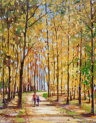 Trees by Ananda Ahire, Impressionism Painting, Acrylic on Canvas, Limed Oak color