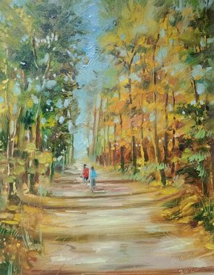 Trees by Ananda Ahire, Impressionism Painting, Oil on Canvas, Clay Creek color