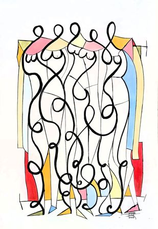 Women by Ananda Ahire, Abstract Drawing, Ink on Paper, Eerie Black color