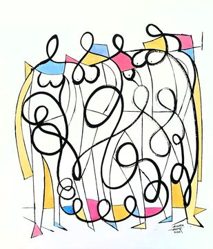 Women by Ananda Ahire, Illustration Drawing, Ink on Paper, Spring Wood color