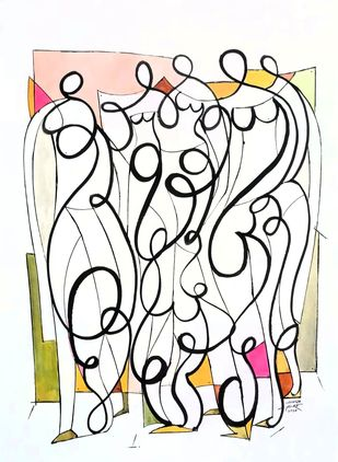 Females by Ananda Ahire, Illustration Drawing, Ink on Paper, Pampas color