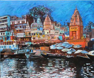 Dasashwamedh ghat Digital Print by Mamta Malhotra,Expressionism