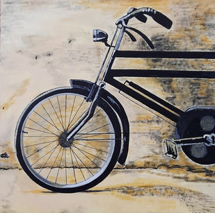 Vintage Cycle 02 by Tejal Bhagat, Impressionism Painting, Acrylic on Canvas, Bison Hide color
