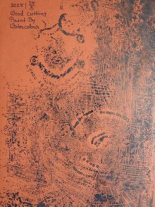 SHRINATHJI by KAJAL PANCHAL, Illustration Printmaking, Wood Cut on Paper, Chocolate color