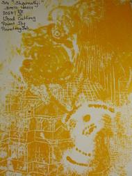 SHREENATHGJI by KAJAL PANCHAL, Illustration Printmaking, Wood Cut on Paper, Luxor Gold color