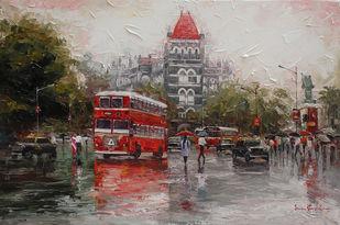 Mumbai Wet Street_01 by Iruvan Karunakaran, Impressionism Painting, Acrylic on Canvas, Cloudy color