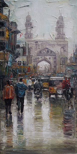 Charminar Wet St_02 by Iruvan Karunakaran, Impressionism Painting, Acrylic on Canvas, Tapa color