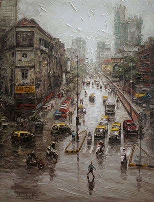 Mumbai Wet Street_02 by Iruvan Karunakaran, Impressionism Painting, Acrylic on Canvas, Coffee color