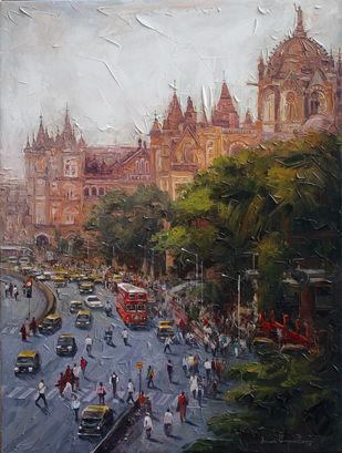 Mumbai Street_01 by Iruvan Karunakaran, Impressionism Painting, Acrylic on Canvas, Masala color