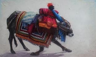 Gangireddu 10 by Iruvan Karunakaran, Impressionism Painting, Acrylic on Canvas, Edward color