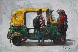 India Transits_01 by Iruvan Karunakaran, Impressionism Painting, Acrylic on Canvas, Heavy Metal color