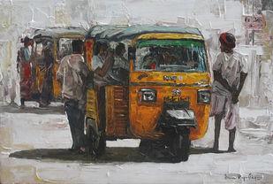 India Transits_02 by Iruvan Karunakaran, Impressionism Painting, Acrylic on Canvas, Millbrook color