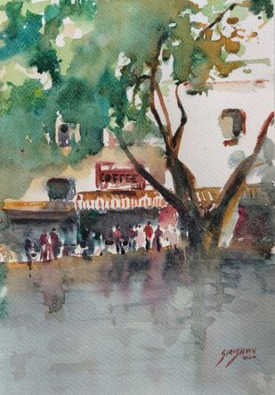 Coffee house by Sirish M N, Impressionism Painting, Watercolor on Paper, Battleship Gray color