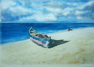 Fishing Canoe by Pravin, Impressionism Painting, Watercolor on Paper, Shadow Green color