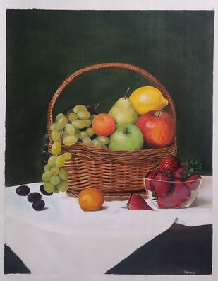 Fruits on table Digital Print by Henry Charles,Realism