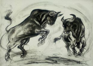 Playing Bulls by Ananda Das, Illustration Drawing, Charcoal on Canvas, Heavy Metal color