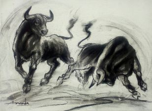 Playing Bulls by Ananda Das, Illustration Drawing, Charcoal on Canvas, Kangaroo color