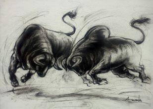 Playing Bulls by Ananda Das, Illustration Drawing, Charcoal on Canvas, Mine Shaft color