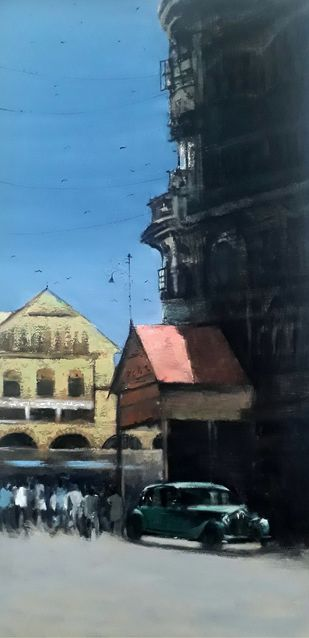 crawford market by Sandeep Ghule, Impressionism Painting, Acrylic on Canvas, Shark color