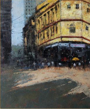 mumbai series 1 by Sandeep Ghule, Impressionism Painting, Acrylic on Canvas, Tuatara color
