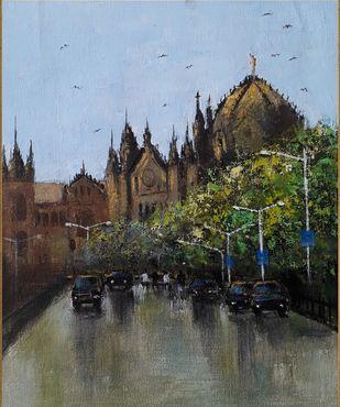 mumbai series III by Sandeep Ghule, Impressionism Painting, Acrylic on Canvas, Armadillo color