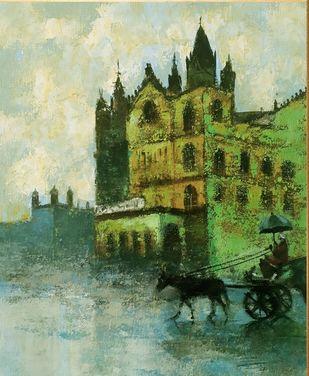 mumbai series IV by Sandeep Ghule, Impressionism Painting, Acrylic on Canvas, Rainee color