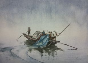 Fishing Canoe by Pravin, Impressionism Painting, Watercolor on Paper, Oslo Gray color