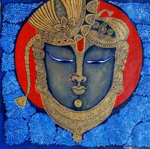 Shrinathji by Vibha Singh, Traditional Painting, Acrylic on Canvas, Fiord color
