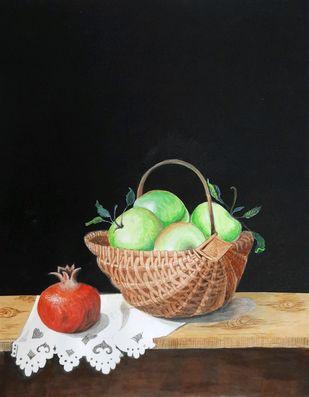 Fruit basket Digital Print by Surendra Kumar Srivastava,Photorealism
