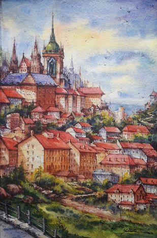 Hill city-3 by Shubhashis Mandal, Impressionism Painting, Watercolor on Paper, Nobel color